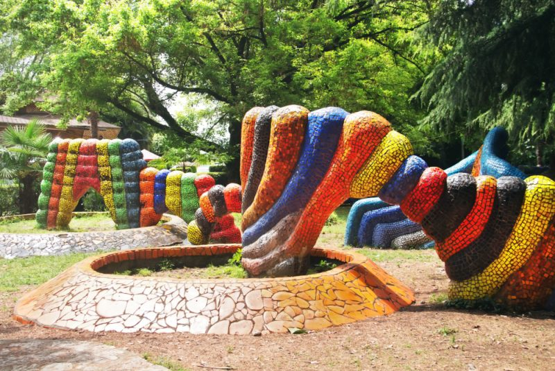 Tsereteli's mosaic playground. Oldenburgs seaside park in Gagra, Abkhazia.
